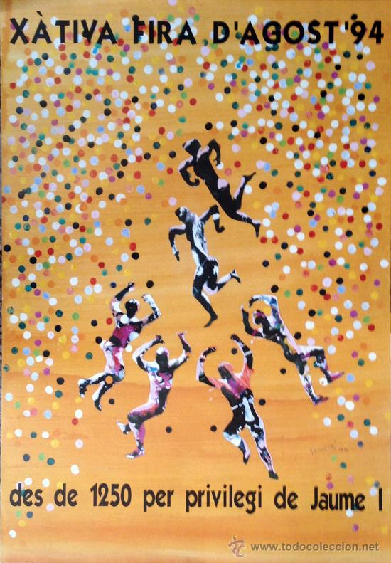 CARTEL JUAN GENOVÉS, FIRA D'AGOST XÀTIVA 1984, 70X100 APROX. ORIGINAL (Coleccionismo - Carteles Gran Formato - Carteles Varios)