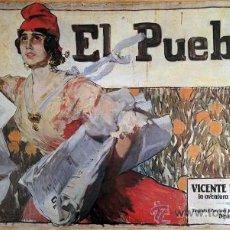 Carteles: CARTEL EL PUEBLO, VICENTE BLASCO IBÁÑEZ, 1986. IMAGEN DE SOROLLA (REPÚBLICA ESPAÑOLA). 38X69 CM.. Lote 111414867