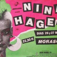 Carteles: NINA HAGEN. CARTEL CONCIERTO MADRID 1984. Lote 205549743