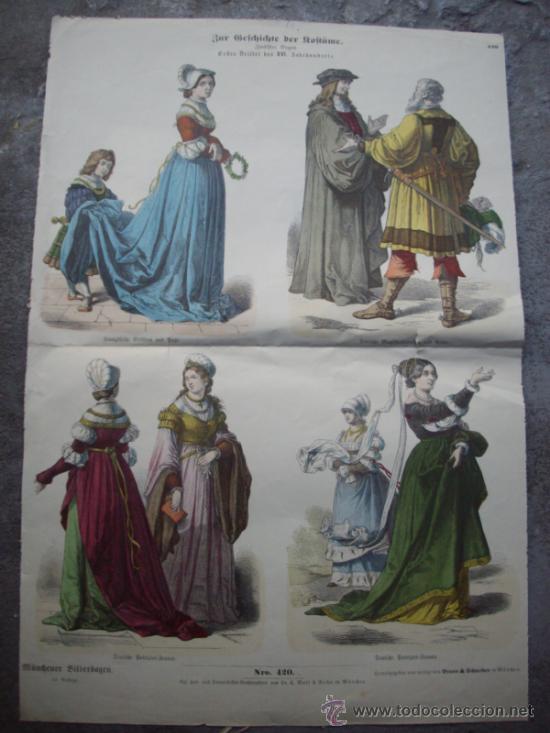 ANTIGUO CARTEL DE VESTIDOS ALEMANES SIGLO XVI (Coleccionismo - Carteles Gran Formato - Carteles Varios)