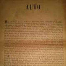 Carteles: RARISIMO EDICTO SOBRE TIERRAS EN EL MIRADOR Y LA GRAJUELA SAN JAVIER MURCIA 1878. Lote 39345820