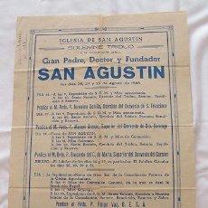 Carteles: CARTEL TRIDUO SAN AGUSTIN CADIZ 1946. Lote 39356139