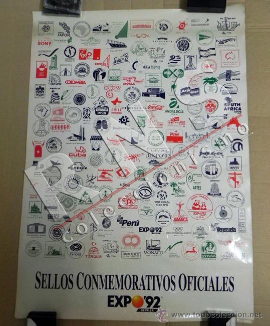 CARTEL DE SELLOS CONMEMORATIVOS OFICIALES EXPO'92 SEVILLA EXPOSICIÓN UNIVER. 1992 PÓSTER ARTE DISEÑO (Coleccionismo - Carteles Gran Formato - Carteles Varios)