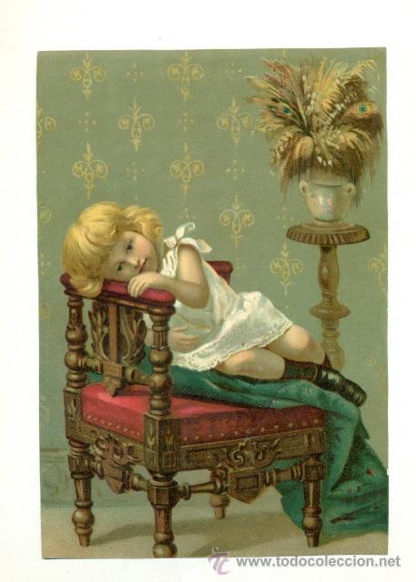 ANTIGUA LAMINA POSTAL CROMO - NIÑA EN SILLON 13X19 (Coleccionismo - Carteles Gran Formato - Carteles Varios)