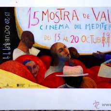 Carteles: CARTEL 15 MOSTRA CINEMA DEL MEDITERRANI DE VALENCIA. ANA JUAN. ORIGINAL DE 1994. 40X77CM. Lote 120481770
