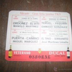 Carteles: CARTEL PLAZA TOROS ALICANTE GRAN FERIA 1979 OSBORNE VER FOTOS. Lote 40153342