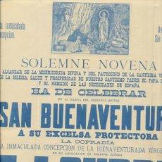 Carteles: CARTEL CONVOCATORIA.SOLEMMENOVENA IGLESIA DE SAN BUENAVENTURA A SU EXCELSA PRO-. Lote 41363480