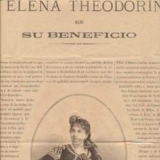 Carteles: A ELENA THEODORINI EN SU BENEFICIO. SEVILLA 7 DE MAYO DE 1887. (44X32 CM). Lote 41363617