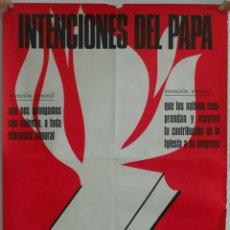 Carteles: CARTEL RELIGIOSO. INTENCIONES DEL PAPA. MARZO 1969.. Lote 42289533