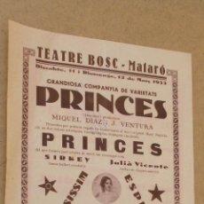 Carteles: TEATRE BOSC DE MATARO - AÑO 1933. Lote 45146968