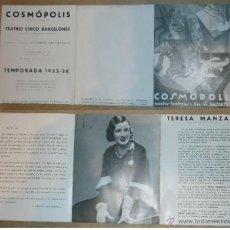Carteles: AGENCIA ARTISTICA COSMOPOLIS - TEATRO CIRCO BARCELONES - AÑOS 30. Lote 45147037