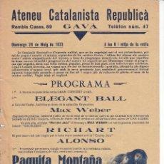 Carteles: ATENEU CATALANISTA REPUBLICA - AÑO 1933. Lote 45147123