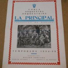 Carteles: COBLA ORQUESTRA ORQUESTRINA LA PRINCIPAL (TORROELLA DE MONTGRI) - AÑO 1934-1935. Lote 45147173