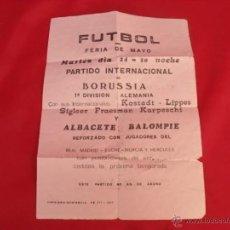 Carteles: CARTEL PAPEL PARTIDO FUTBOL ALBACETE-BORUSSIA AÑO 1977. Lote 45216584