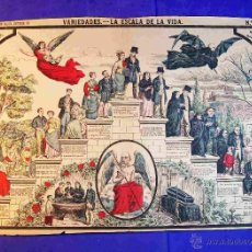 Carteles: CARTEL LA ESCALA DE LA VIDA Y LA MUERTE PROCEDENCIA ESPAÑA PALUZIE AÑOS 1890 APROX ESOTERISMO. Lote 45321673