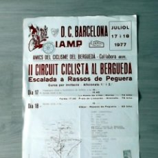 Carteles: JORNADA CICLISTA ESCALADA A RASSOS DE PEGUERAAÑO 1977 CICLISMO BICICLETA CATALUNYA . Lote 45494437
