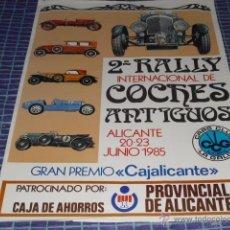 Carteles: CARTEL 2º RALLY COCHES ANTIGUOS - ALICANTE JUNIO 1985 - 70 X 50 CMS.. Lote 45505483