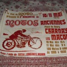 Carteles: CARTEL REENCONTRE M OTOS ANCIENNES DE CHARNAY MACON - 1975. Lote 45558653