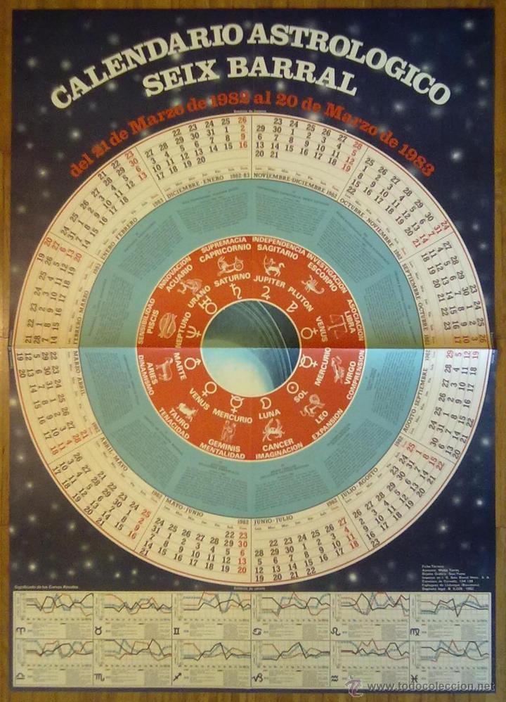 CARTEL CALENDARIO ASTROLOGICO SEIX BARRAL 1982 - 1983 GRAN FORMATO 91 X 65 CM (APROX) (Coleccionismo - Carteles Gran Formato - Carteles Varios)