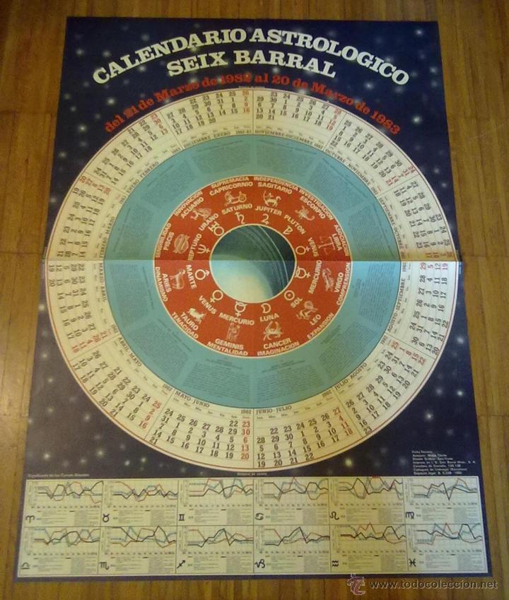 Carteles: CARTEL CALENDARIO ASTROLOGICO SEIX BARRAL 1982 - 1983 GRAN FORMATO 91 X 65 CM (APROX) - Foto 2 - 45686576