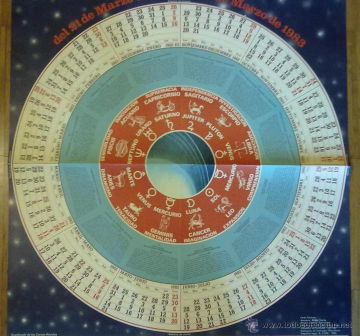 Carteles: CARTEL CALENDARIO ASTROLOGICO SEIX BARRAL 1982 - 1983 GRAN FORMATO 91 X 65 CM (APROX) - Foto 4 - 45686576