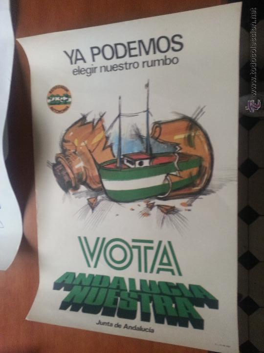 GRAN CARTEL POLITICO POLTICA VOTA ANDALUCIA NUESTRA JUNTA DE ANDALUCIA 28 FEBRERO REFERENDUM 1980 (Coleccionismo - Carteles Gran Formato - Carteles Varios)