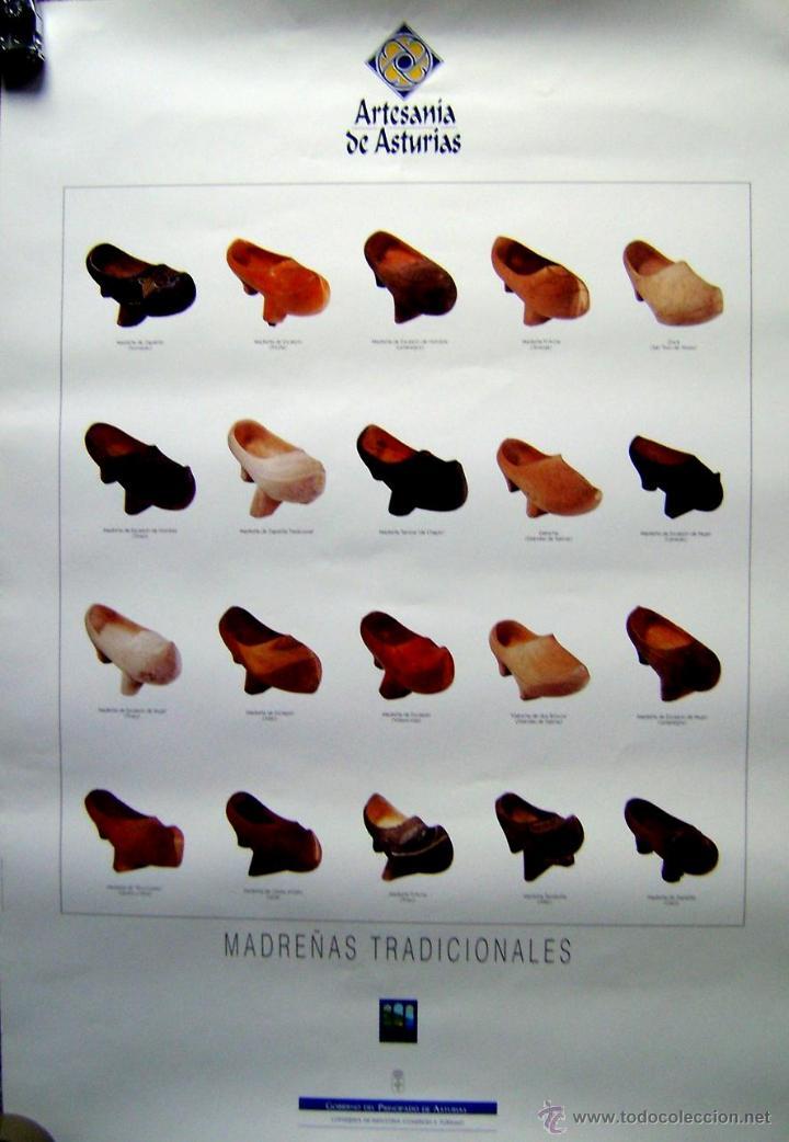 CARTEL ARTESANÍA DE ASTURIAS. MADREÑAS TRADICIONALES. 98X68 CM. (Coleccionismo - Carteles Gran Formato - Carteles Varios)