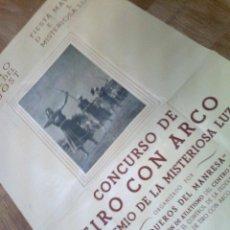 Carteles: CATALUÑA CARTEL CONCURSO TIRO ARCO BARCELONA ARQUEROS MANRRESA 1953 MISTERIOSA LUZ FIESTA MEDIEVAL. Lote 46874918