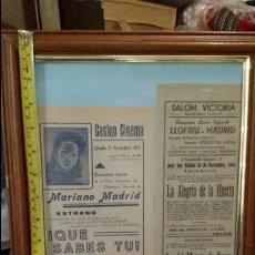 Carteles: LOTE DE 2 CARTELES DE TEATRO COMPAÑIA LIRICA INFANTIL MARIANO MADRID - AÑOS 40. Lote 47605083