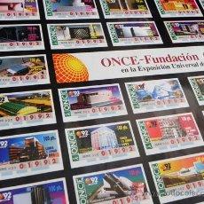 Carteles: PÓSTER DE LA ONCE - CUPONES PABELLONES EN EXPO92 SEVILLA - EXPOSICIÓN UNIVERSAL 1992 CARTEL EXPO 92. Lote 47716390