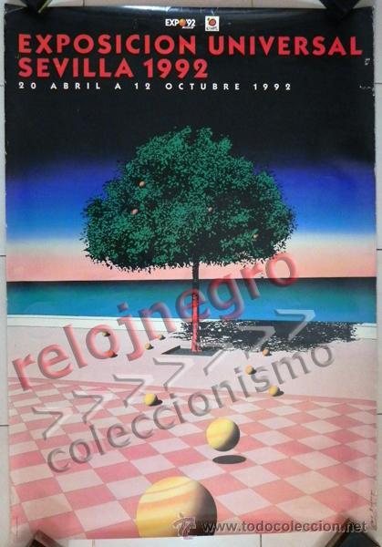 CARTEL DE LA EXPO'92 SEVILLA EXPOSICIÓN UNIVERSAL 1992 G. BILLOUT ARTE DISEÑO GRÁFICO PÓSTER EXPO 92 (Coleccionismo - Carteles Gran Formato - Carteles Varios)