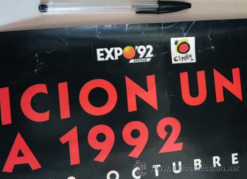 Carteles: CARTEL DE LA EXPO92 SEVILLA EXPOSICIÓN UNIVERSAL 1992 G. BILLOUT ARTE DISEÑO GRÁFICO PÓSTER EXPO 92 - Foto 3 - 47717030