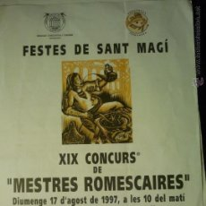 Carteles: FOLLETO 22 X 16 FIESTAS S.MAGIN- TARRAGONA XIX CONCURSO DE MESTRES ROMESCAIRES.--1997. Lote 48527444