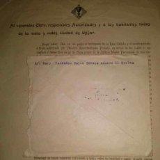Carteles: AL VENERABLE CLERO, RESPETABLES AUTORIDADES Y A LOS HABITANTES DE LA CIUDAD DE UGIJAR GRANADA 1911. Lote 49452470