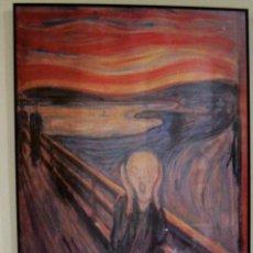Carteles: EDVAR MUNCH - THE SCREAN 1893 MEDIDAS 81 X 60 CM ENMARCADO Y ABAJO DEL CARTEL INFORMACION. Lote 49701796