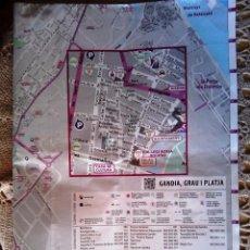 Carteles: MAPA CARTEL CALLEJERO DE GANDIA EN VALENCIA. 49 X 70 CM.. Lote 50083992