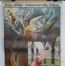 Carteles: CARTEL RELIGION Nº 4 ENSEÑANZA DEL CATECISMO CATEQUESIS ESCUELA ILUSTRADOR J. LLIMONA, DIOS EL CREA. Lote 50134307