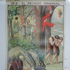 Affissi: CARTEL RELIGION Nº 6 ENSEÑANZA DEL CATECISMO CATEQUESIS ESCUELA ILUSTRADOR J. LLIMONA, EL PECADO OR. Lote 50134378