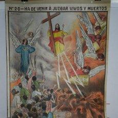 Carteles: CARTEL RELIGION Nº 20 ENSEÑANZA DEL CATECISMO CATEQUESIS ESCUELA ILUSTRADOR J. LLIMONA, HA DE VENIR. Lote 50134398