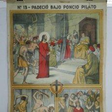 Carteles: CARTEL RELIGION Nº 13, ENSEÑANZA DEL CATECISMO CATEQUESIS ESCUELA ILUSTRADOR J. LLIMONA, PADECIO BA. Lote 50183261