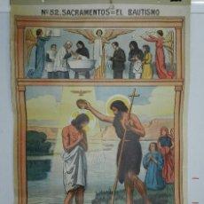 Carteles: CARTEL RELIGION Nº 52, ENSEÑANZA DEL CATECISMO CATEQUESIS ESCUELA ILUSTRADOR J. LLIMONA, SACRAMENTO. Lote 50183314