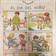 Carteles: LÁMINA DE LENGUAJE Y CONVERSACIÓN INFANTIL. PRIMERA SERIE. 1ª LÁMINA. EL DÍA DEL NIÑO. Lote 50250939