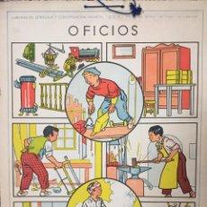 Carteles: LÁMINA DE LENGUAJE Y CONVERSACIÓN INFANTIL. PRIMERA SERIE. 6ª LÁMINA. OFICIOS. Lote 50251482