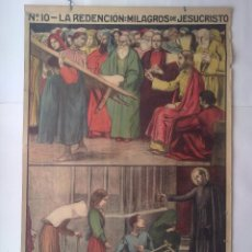 Carteles: CARTEL RELIGIOSO SIGLO XIX, MILAGROS JESUCRISTO, CRISTO CURA PARALITICO, SAN JOSE ORIOL CURADO . Lote 50456667