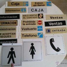 Carteles: LOTE 19 UDS CARTEL PICTOGRAMA PLACA DE ALUMINIO ROTULO LETRERO AÑOS 90 ASEO PELIGRO SALIDA TELEFONO. Lote 51189564