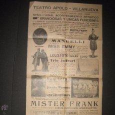 Carteles: CARTEL ESPECTACULOS- TEATRO APOLO VILANOVA I GELTRU - 7 OCTUBRE 1926 - MIDE 31 X 62 CM.. Lote 52634118