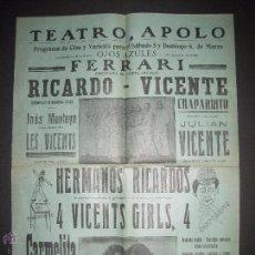 Carteles: CARTEL ESPECTACULOS- TEATRO APOLO VILANOVA I GELTRU - 5 Y 6 DE MARZO - MIDE 32 X 43 CM.. Lote 52634230