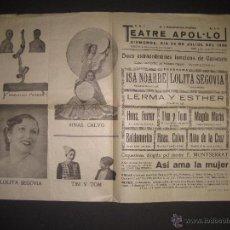 Carteles: CARTEL ESPECTACULOS- TEATRE APOL.LO VILANOVA I GELTRU JULIO 1938-GUERRA CIVIL-CNT- MIDE 32 X 43 CM.. Lote 52634325