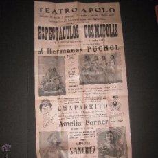 Carteles: CARTEL ESPECTACULOS- TEATRO APOLO VILANOVA I GELTRU-AÑO 1932 - MIDE 28 X 64 CM.. Lote 52634421