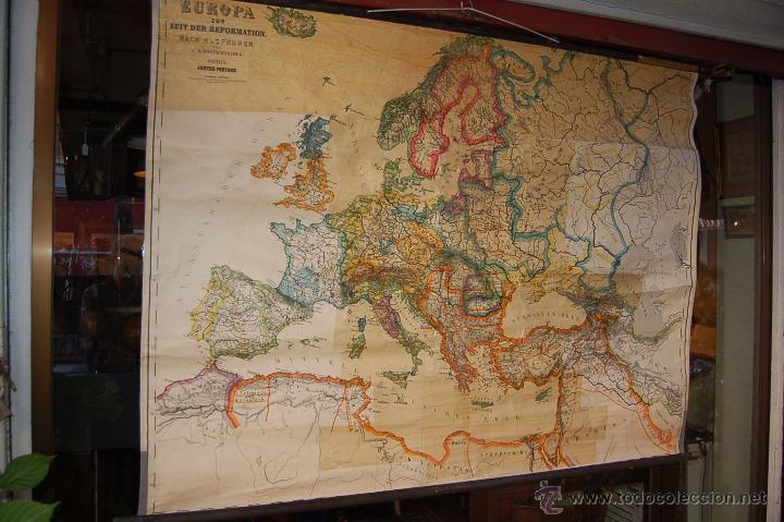 Carteles: ANTIGUO CARTEL, MAPA MURAL ALEMÁN DE GRAN TAMAÑO. EUROPA EN EL SIGLO XVI - Foto 2 - 52712121